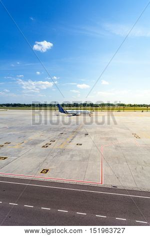 KIEV, UKRAINE - JUNE 04, 2016: Airplane is waiting in the parking lot of his departure im the morning.