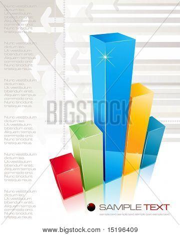 3D shiny graph - vector illustration