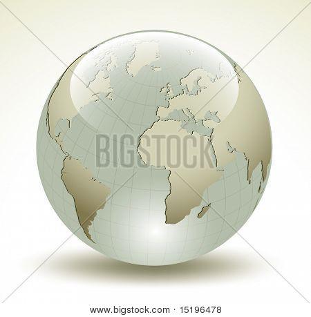 Esfera brillante de la tierra 3D - ilustración vectorial