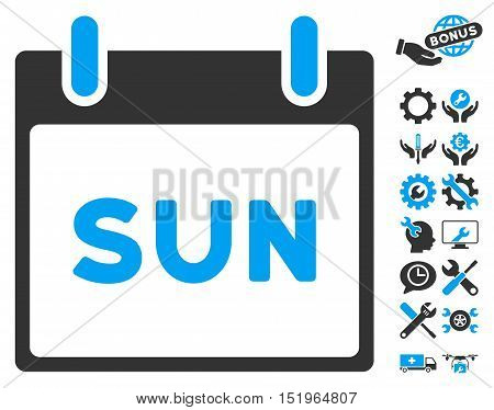 Sunday Calendar Page icon with bonus configuration pictograph collection. Vector illustration style is flat iconic symbols, blue and gray, white background.