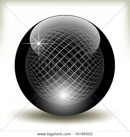 Black glossy refracting sphere - vector illustration