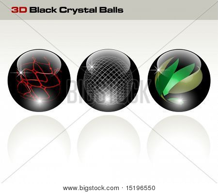 Black glossy refracting spheres - vector illustration