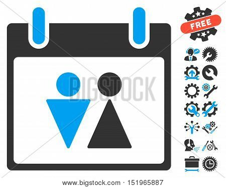 Toilet Calendar Day pictograph with bonus settings graphic icons. Vector illustration style is flat iconic symbols, blue and gray, white background.