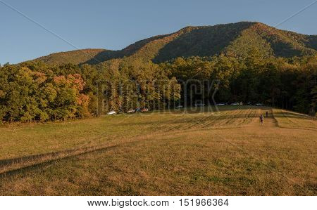 Panoramic picture of Cades Cove in Smoky Mountains National Park during Fall Season