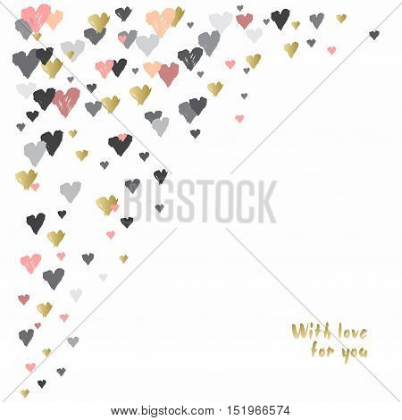 Light corner design with hearts confetti on white background. Romantic trendy heart frame. Valentine day design for love card, valentine day greetings. Vector illustration stock vector.