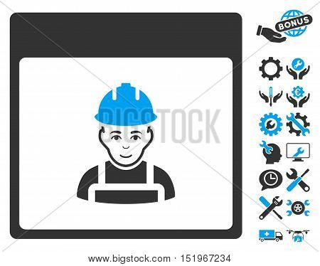 Worker Calendar Page pictograph with bonus configuration pictograms. Vector illustration style is flat iconic symbols, blue and gray, white background.