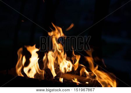 bright fire in the grill. The concept texture and background