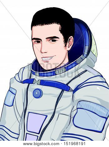 Smilling astronaut isolated on white background. Vector art. EPS 10
