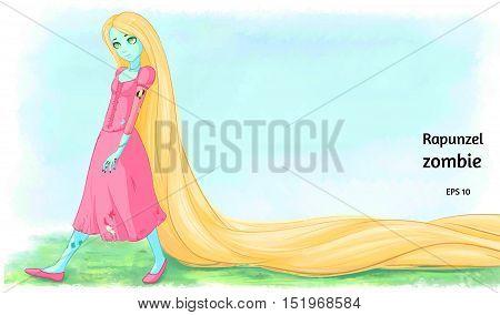 Rapunzel zombie. Cartoon character. Vector art. EPS 10