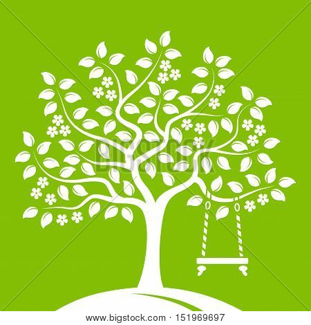 vector flowering tree with swing isolated on green background