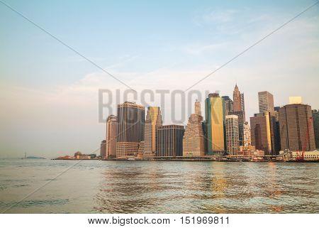Manhattan downtown cityscapes in the morning time