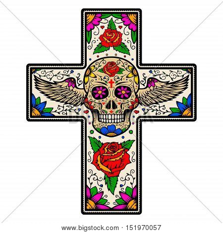 Colorful Cross with winged sugar skull isolated on white background. Day Of The Dead. Vector illustration.