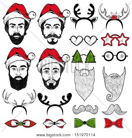 Set of christmas hipster male faces in santa hats holiday decoration ties and glasses isolated vector illustration