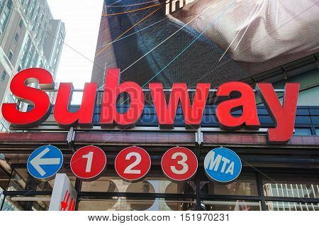 NEW YORK CITY - SEPTEMBER 4: Subway station sign on September 4 2015 in New York City NY.