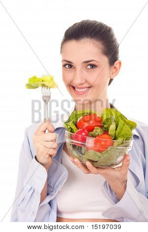 Healthy Lifestyle, Woman With Salad