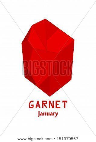 Red garnet gem stone, Red crystal, Gems and mineral crystal, January birthstone gemstone