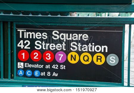 NEW YORK CITY - SEPTEMBER 4: Times Square and 42nd street subway sign on September 4 2015 in New York City.