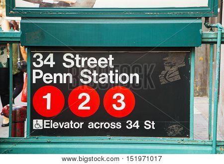 NEW YORK CITY - SEPTEMBER 4: Penn Station and 34th street subway sign on September 4 2015 in New York City.