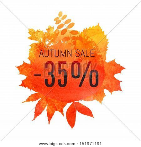 Autumn Leaf Foliage Watercolor. Autumn Sale - 35 % Off . Fall Sale. Web Banner Or Poster For E-comme