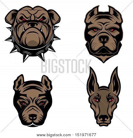 Set of the dogs heads isolated on white background. Pitbull, doberman, bulldog.  Design element for logo, label, emblem, sign, brand mark. Vector illustration.