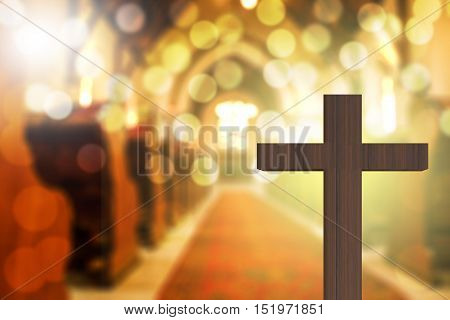 3D Rendering Of Wooden Cross In Blurred Church Interior