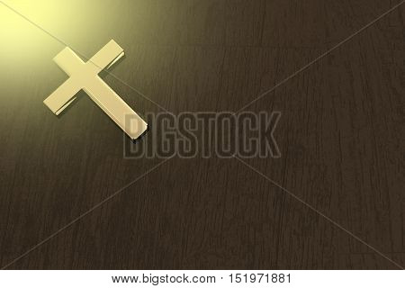 3D Rendering Of A Golden Cross On A Table