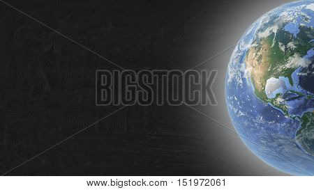Planet Earth located in right part of blackboard. Mock up.