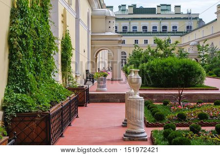SAINT PETERSBURG RUSSIA - FEB 24 2015: Interior of the Garden of State Hermitage a museum of art and culture in Saint Petersburg Russia. It was founded in 1764 by Catherine the Great