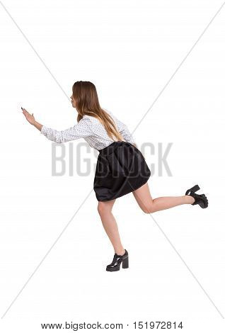 Side view of woman wearing high heels and running. Concept of competition. Isolated. Mock up