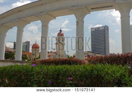 KUALA LUMPUR MALAYSIA - November 16. 2016: the Clock tower of Sultan Abdul Samad building near Merdeka Square
