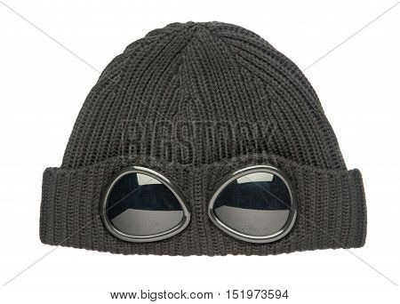 Knitted Hat Isolated On White Background . Hat With Sunglasses .hat Black
