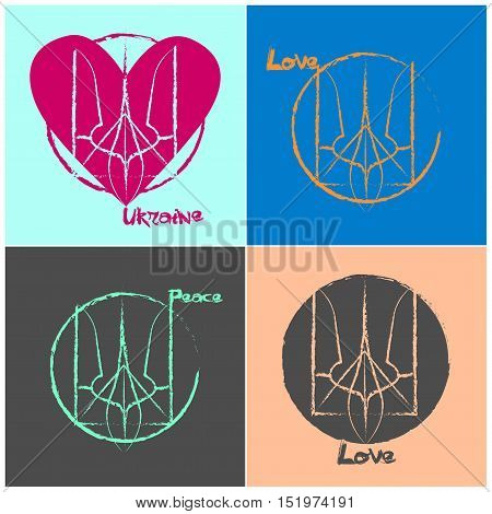Ukrainian national symbol love and peace art