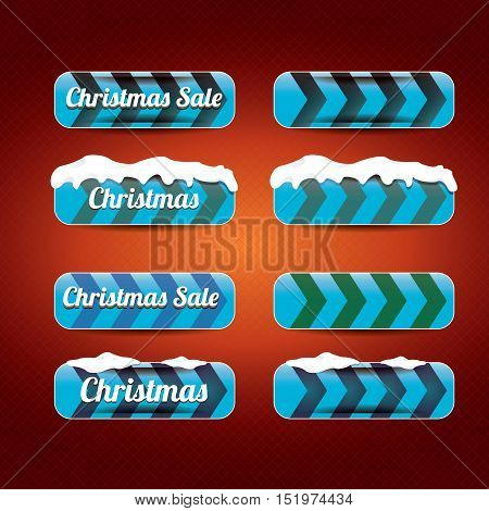 glossy blue christmas web buttons set. glossy blue winter web buttons with snow and ice