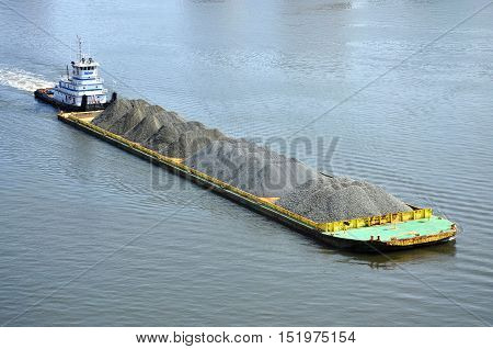 NORFOLK, VA, USA - MAY 4: Barge on Elizabeth River on May 4th, 2012 in Norfolk, Virginia, USA.