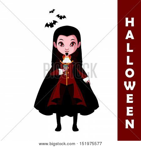 Vampire Halloween character illustration art in flat color