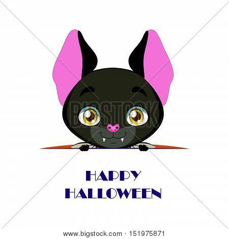 Cute Bat Peeking Out With Happy Halloween Text Beneath Him