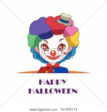 Clown Peeking Out With Happy Halloween Text Beneath Him