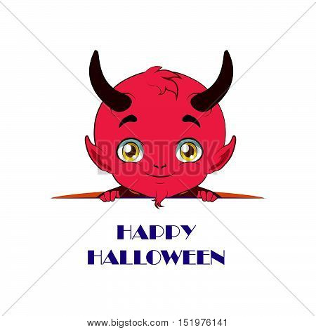 Cute Devil Peeking Out With Happy Halloween Text Beneath Him