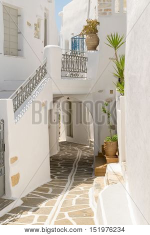 Beautiful cyclades architecture of an alley at a local village Prodromos in Paros island in Greece.