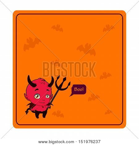 Cute Halloween devil greeting with orange background