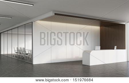 Reception Desk And Meeting Room In Corridor