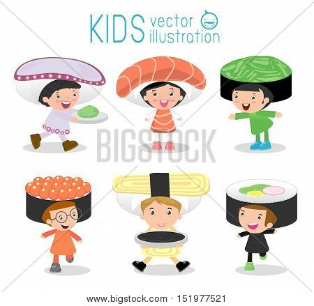 Set of cute kids wearing Sushi costumes isolated on white background, Little Cute children in costumes Sushi, children dressed like Japanese food, cute child in costume,Vector Illustration.