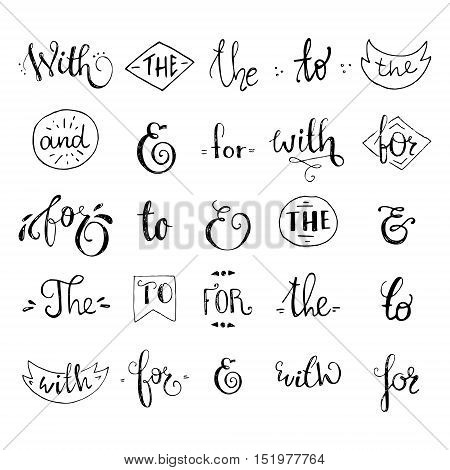 Big collection of black and white hand sketched ampersands and catchwords made in vector. Calligraphic detailes. Handsketched set of design elements.