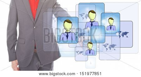 Young businessman with online friends isolated on white background