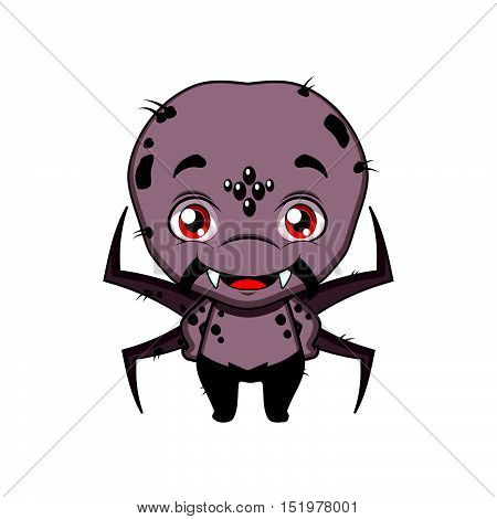 Cute Halloween spider illustration art in flat color