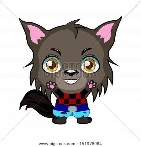 Cute Halloween werewolf illustration art in flat color