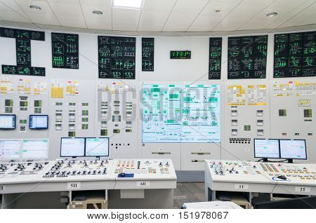 The control room of nuclear power plant. Fragment of nuclear reactor control panel.
