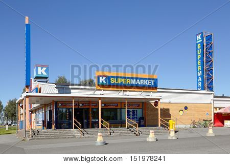 Tornio, Finland - July 20, 2016: Exterior of the supermarket K-supermarket Ykkonen building a member of the Finnish Kesko-group.