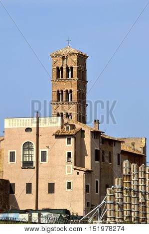 Rome Italy - September 11 2016 : The historical Basilica di Santa Francesca Romana church in Rome