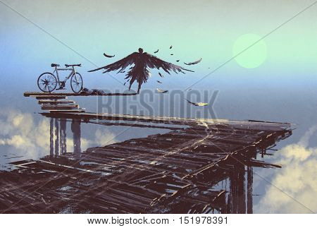 man becomes bird standing on end of line, illustration painting